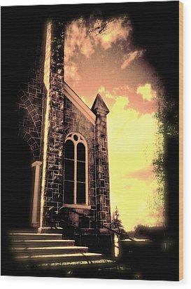 Church Vignette Against Sky Wood Print