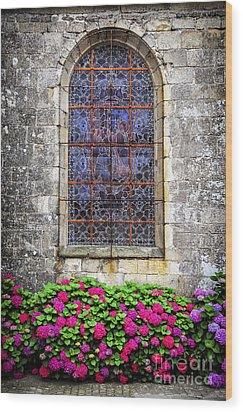 Church Window In Brittany Wood Print by Elena Elisseeva