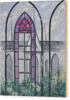 Wood Print featuring the painting Church Window by Artists With Autism Inc