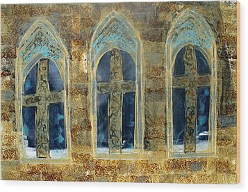 Wood Print featuring the photograph Church Windows by Lesley Fletcher