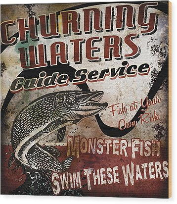 Churning Waters Sign Wood Print by JQ Licensing