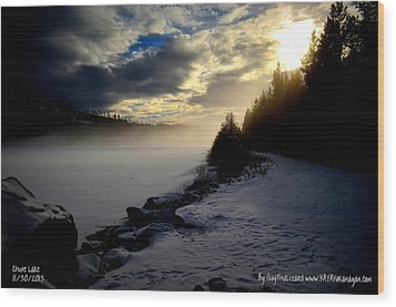 Chute Lake Winter Wood Print by Guy Hoffman