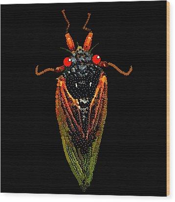 Cicada In Black Wood Print by R  Allen Swezey