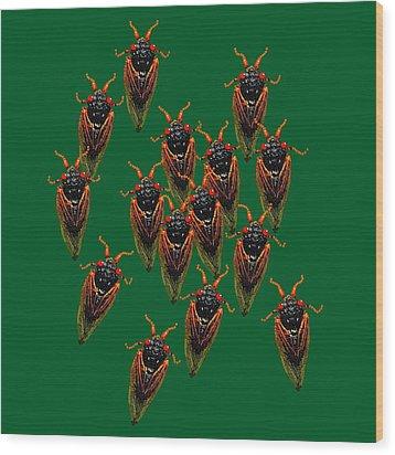 Cicadas In Green Wood Print by R  Allen Swezey