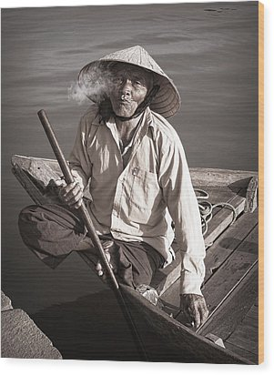 Wood Print featuring the photograph Cigar Man by Kim Andelkovic