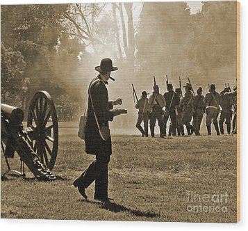 Wood Print featuring the photograph Cigar Man - U.s. Civil War Reenact by Cheryl Del Toro