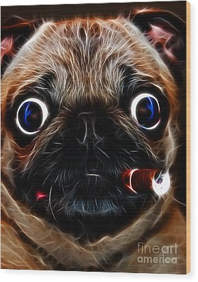 Cigar Puffing Pug - Electric Art Wood Print by Wingsdomain Art and Photography