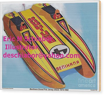 Cigarett Power Boat Illustration Wood Print by Eric  Schiabor