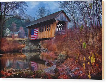 Cilleyville Covered Bridge Wood Print