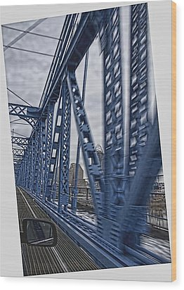 Cincinnati Bridge Wood Print by Daniel Sheldon