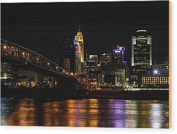 Wood Print featuring the photograph Cincinnati By Night by Cathy Donohoue