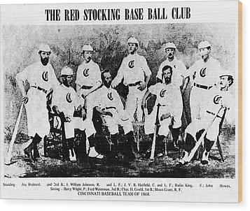 Cincinnati Red Stocking Baseball Team Wood Print