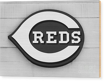 Cincinnati Reds Sign Black And White Picture Wood Print by Paul Velgos