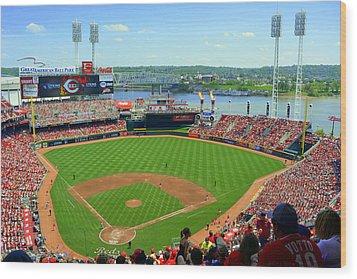Cincinnati Reds Stadium Wood Print by Kathy Barney