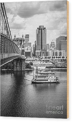 Cincinnati Riverfront Black And White Picture Wood Print by Paul Velgos