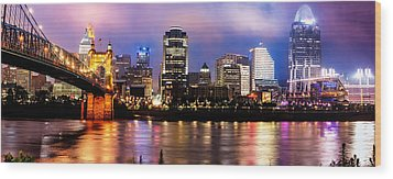 Cincinnati Skyline Panorama Wood Print