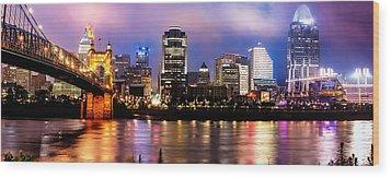 Cincinnati Skyline Panorama Wood Print by Gregory Ballos
