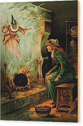 Cinderella And The Fairy Godmother Wood Print by Mother Goose