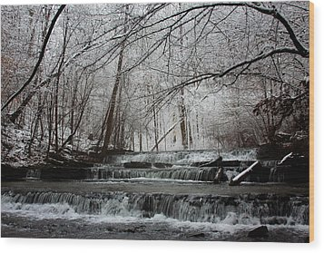 Cinderella Falls In Winter Wood Print by Rachel Hallmark