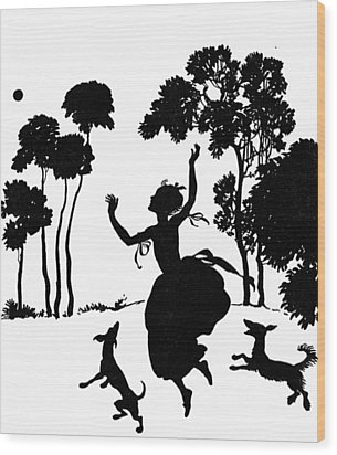 Cinderella Playing With Her Dogs Wood Print by Arthur Rackham