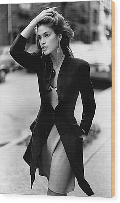 Cindy Crawford Wearing A Wool Coat Over A Slip Wood Print by Arthur Elgort