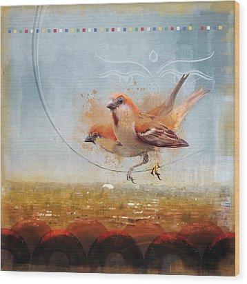 Cinnamon Sparrows Wood Print by Alex Tomlinson