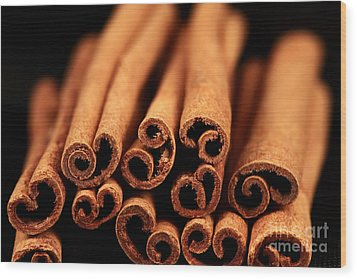 Cinnamon Sticks Wood Print by John Rizzuto
