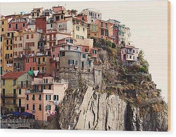 Cinque Terre Mediterranean Coastline Wood Print by Kim Fearheiley