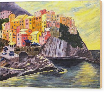 Cinque Terre Sunrise Wood Print by Diane Arlitt