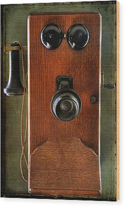 Circa 1920's Antique Wall Phone Wood Print by Donna Kennedy
