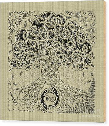 Circle Celtic Tree Of Life Inked Wood Print by Kristen Fox