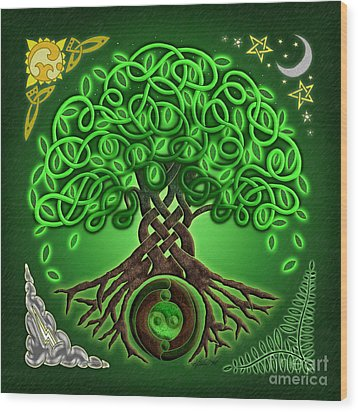 Circle Celtic Tree Of Life Wood Print by Kristen Fox