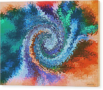 Circle Of Colors Abstract Art Wood Print by Annie Zeno
