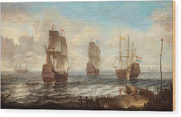 Wood Print featuring the painting Circle Of Sailing Ships by Jacob Adriaensz Bellevois
