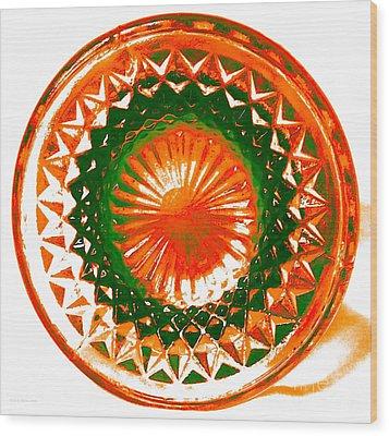 Circle Orange Wood Print by Anita Lewis