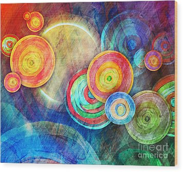 Circle Shape Art In Sun Landscape Wood Print by Angela Waye