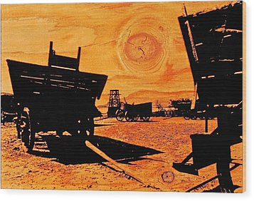 Circle The Wagons Wood Print by Mike Flynn