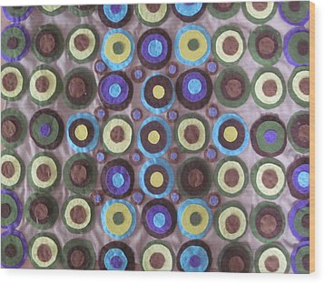 Circles And Dots Wood Print by Cherie Sexsmith