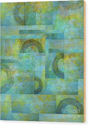 Circles And Squares Wood Print by Ann Powell