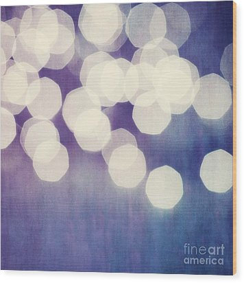 Circles Of Light Wood Print by Priska Wettstein