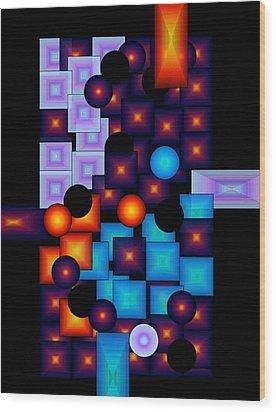 Circles Vs.squares Wood Print by Gayle Price Thomas