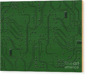 Circuit Board Wood Print by Bedros Awak