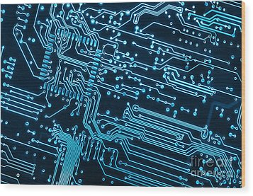 Circuit Board Wood Print by Carlos Caetano