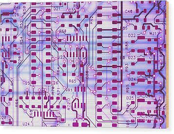 Circuit Trace II Wood Print by Jerry McElroy