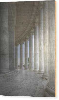 Circular Colonnade Of The Thomas Jefferson Memorial Wood Print by Shelley Neff