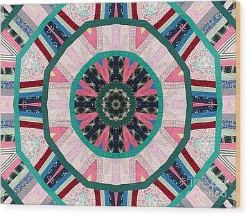 Circular Patchwork Art Wood Print by Barbara Griffin
