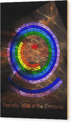 Circular Periodic Table Of The Elements Wood Print by Carol and Mike Werner