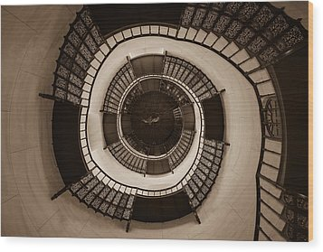 Circular Staircase In The Granitz Hunting Lodge Wood Print by Andreas Levi