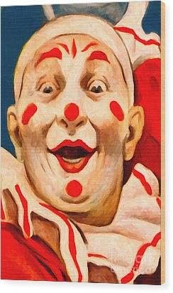 Circus Clown - 2012-1230 - Painterly Wood Print by Wingsdomain Art and Photography