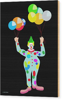 Circus Clown With Balloons Wood Print